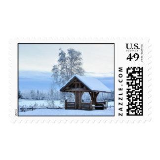 Historic Dairy Farm Field in Winter - Alaska Stamp