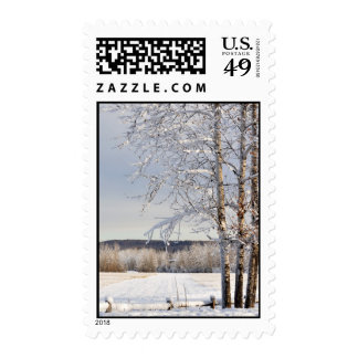 Historic Dairy Farm Field in Winter - Alaska Postage Stamps