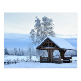 Historic Dairy Farm Field in Winter - Alaska Postcard