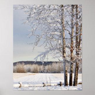Historic Dairy Farm Field in Winter - Alaska Print