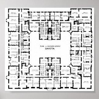 Historic Dakota Building Floor Plan Poster