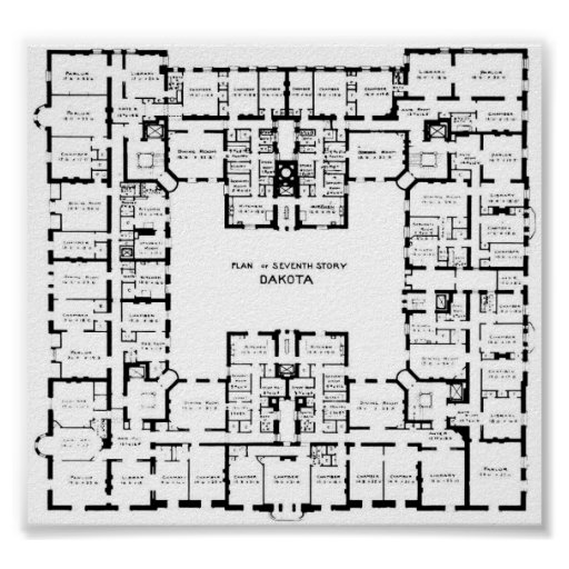 Historic Dakota Building Floor Plan Poster