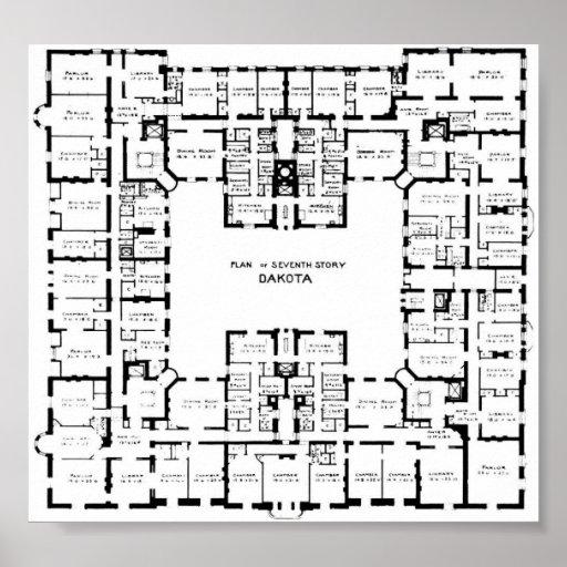 Historic Dakota Building Floor Plan Poster Zazzle