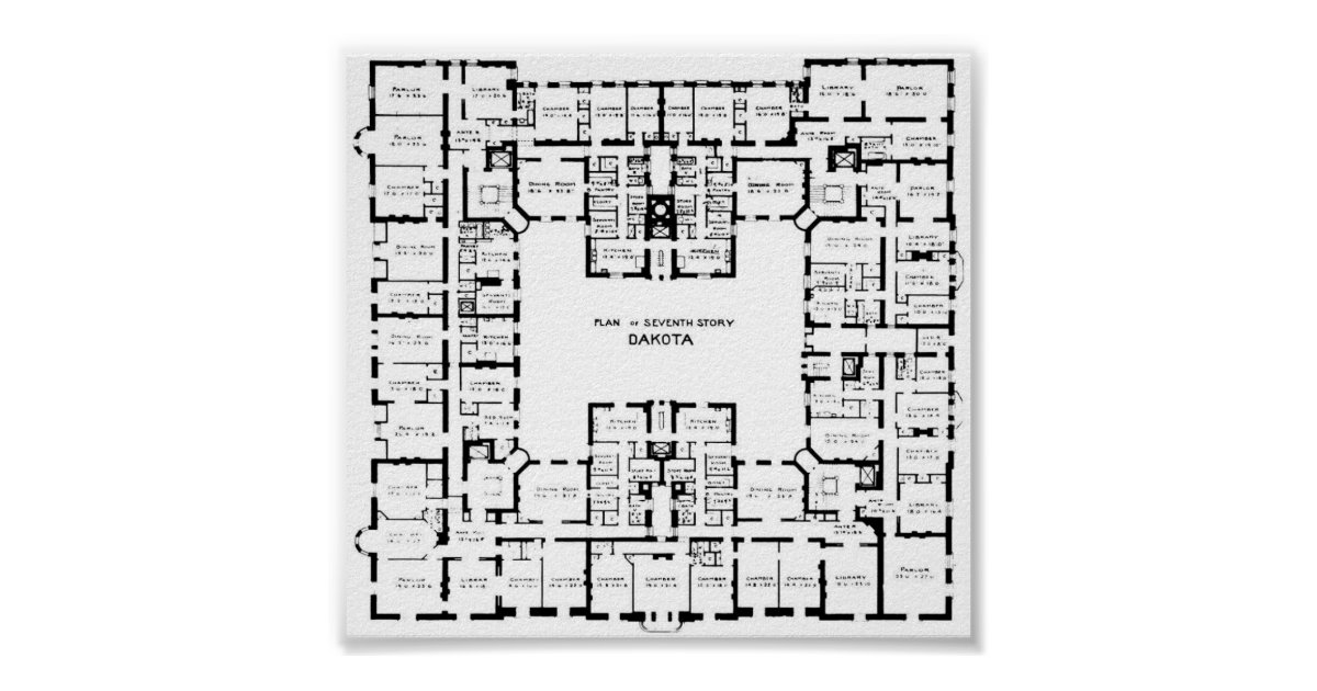 Historic dakota building floor plan poster for Dakota floor plan