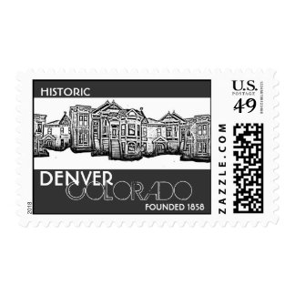 Historic Denver Colorado old town postage stamps