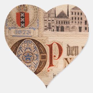 Historic Document  Antique Certificate Vintage Heart Sticker