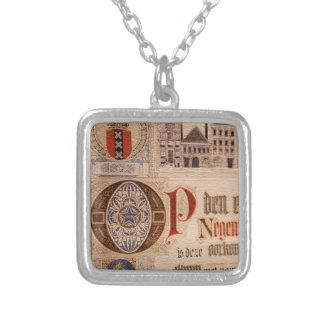 Historic Document  Antique Certificate Vintage Square Pendant Necklace