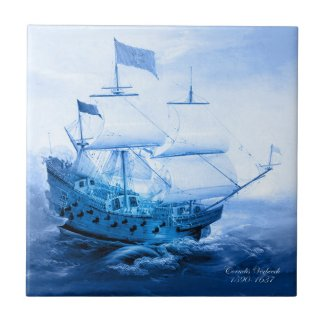 Historic Dutch Sailboat Delft Blue Tile