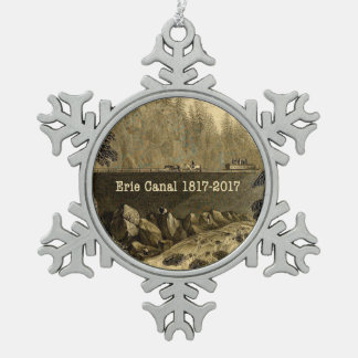 Historic Erie Canal Bicentennial Years Snowflake Pewter Christmas Ornament