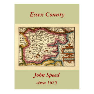 Historic Essex County Map, England Postcard