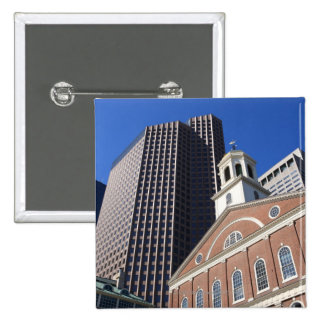 Historic Faneuil Hall against modern Boston Pinback Button