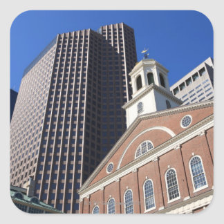Historic Faneuil Hall against modern Boston Square Stickers