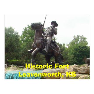 Historic Fort Leavenworth, KS- Buffalo Soldier Mon Postcard