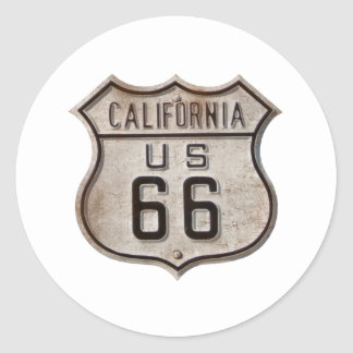 Historic Highway Road Sign Round Stickers