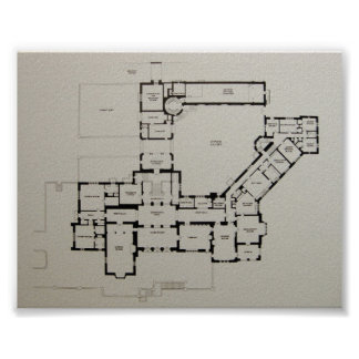 Historic House Plan Greystone Dewey House Poster