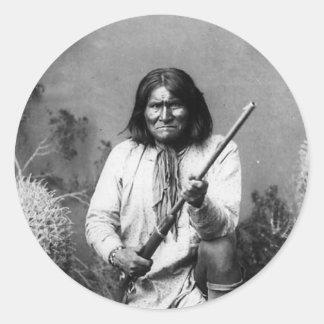 Historic Iconic Native American Indian Geronimo Classic Round Sticker