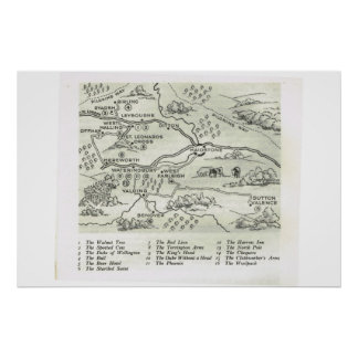 Historic Inns of kent,  Map of Inns near Maidstone Poster