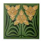 """Historic Jugendstil Art Nouveau Repro Faux Relief Ceramic Tile<br><div class=""""desc"""">Reproduced from a circa 1900 antique tile, this striking design is in two shades of green and a two shades of a peachy salmon pink. Available in 4.5"""" and 6"""" tiles as well as other items. Tiles are highly collectible as well as useful. They make great wall and backsplash tiles...</div>"""