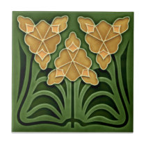 Historic Jugendstil Art Nouveau Repro Faux Relief Ceramic Tile