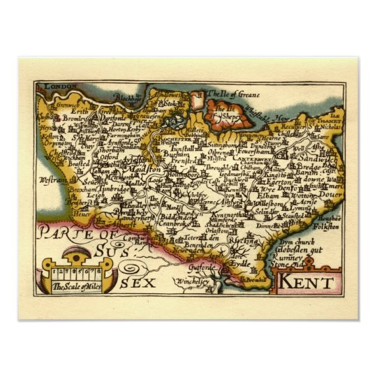 Historic Kent County Map, England Card