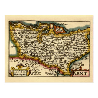 Historic Kent County Map England Post Cards
