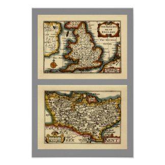 Historic Kent County Map, England Posters