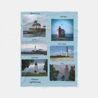 Historic Lighthouses Fleece Blanket
