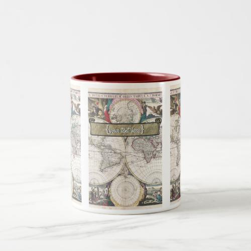Historic Map - Nova Totius Terrarum Orbis Tabula Coffee Mug