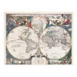 Historic Map - Nova Totius Terrarum Orbis Tabula Postcard