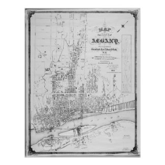 Historic Map of Albany New York from 1857 E Jacob Poster