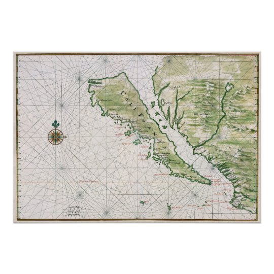 Historic Map of California as an Island Poster