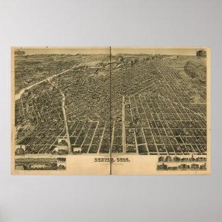 Historic Map of Denver, 1889 Poster