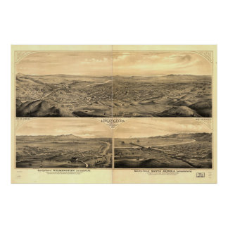 Historic Map of Los Angeles, 1877 Print