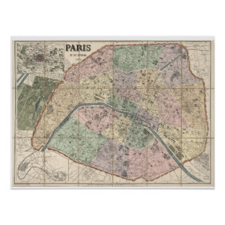 Historic Map of Paris, France (1731) Poster