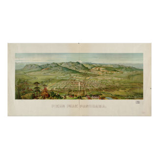 Historic Map of Pikes Peak, Colorado 1890 Poster