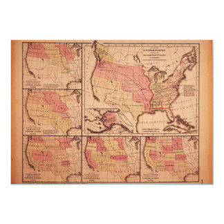 Historic Map of United States Expansion 1787-1865 Card