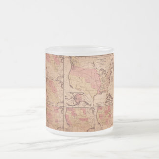 Historic Map of United States Expansion 1787-1865 Frosted Glass Coffee Mug