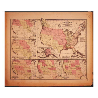 Historic Map of United States Expansion 1787-1865 Photo Print