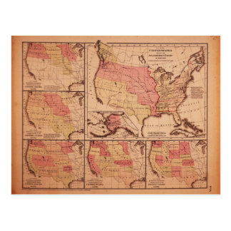 Historic Map of United States Expansion 1787-1865 Postcard