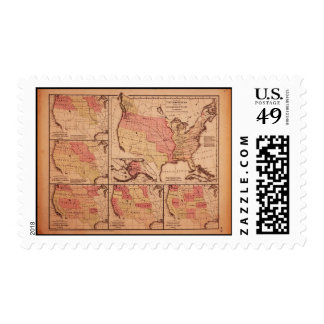 Historic Map of United States Expansion 1787-1865 Stamp