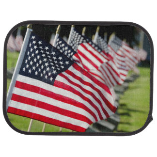 Historic military cemetery with US flags Car Floor Mat