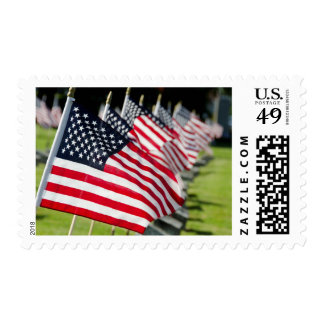 Historic military cemetery with US flags Postage