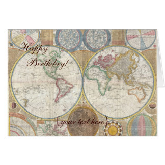Historic Old World Map, 1794 - Happy Birthday Greeting Card