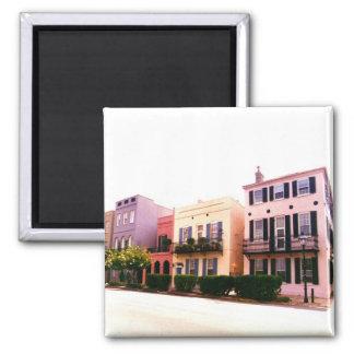 Historic Rainbow Row Charleston South Carolina 2 Inch Square Magnet
