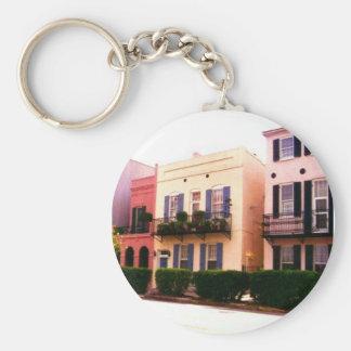 Historic Rainbow Row Charleston South Carolina Basic Round Button Keychain