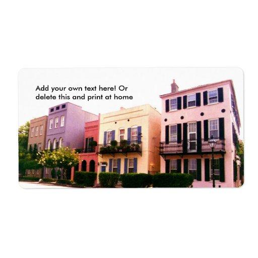 Historic Rainbow Row Charleston South Carolina Shipping Label