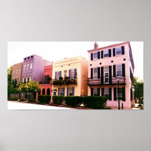 Historic Rainbow Row Charleston South Carolina Poster