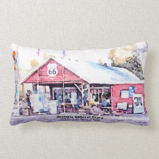 Historic Route 66 Arizona General Store Watercolor Lumbar Pillow