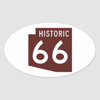 Historic Route 66 - Arizona State Map Oval Sticker