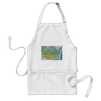Historic Route 66 Cartoon Map Adult Apron